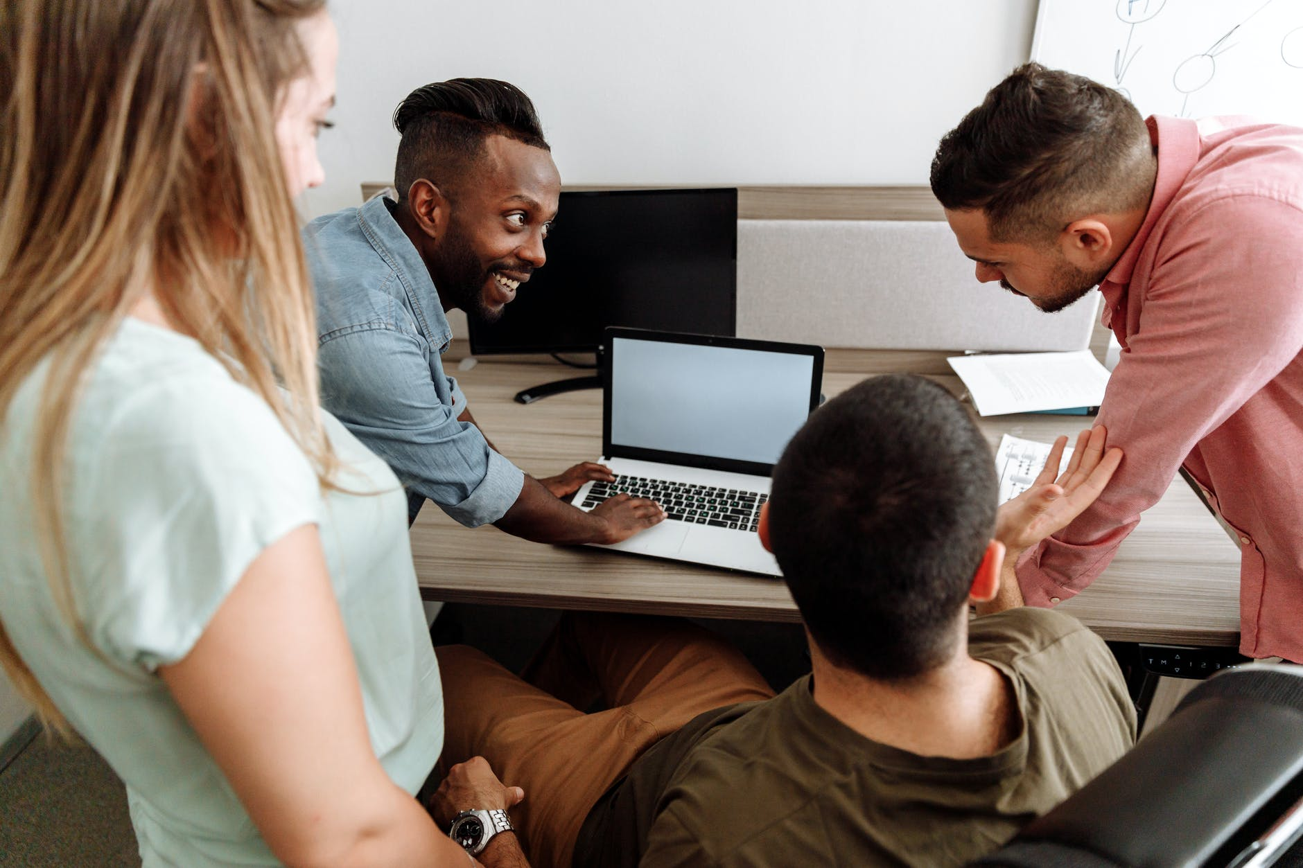 group of people having discussion at work